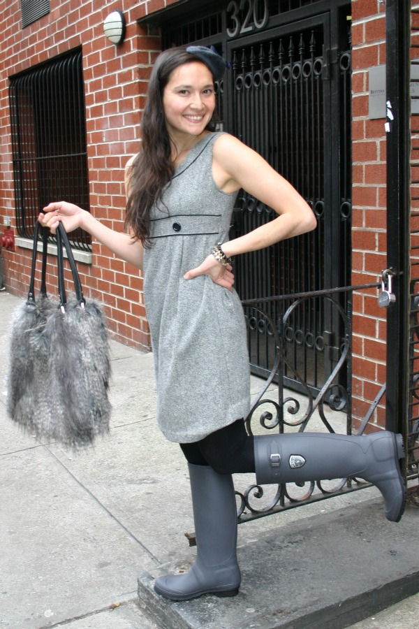 Grey Kamik Rainboots.  Faux Grey Wolf Handbag with Leather Handle.  Grey Fascinator mini-beret.  All sold at Amé Amé in the East Village of NYC on the 9th Street.