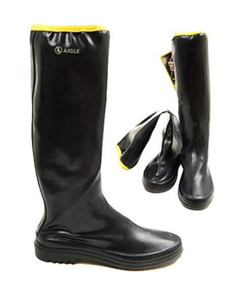 Aigle's new Rubber Packs. Foldable rain boots with a solid sole.  Not at Amé Amé s East Village store and AmeRain.com