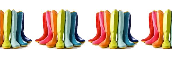 A Rainbow of Amaort Rain Boots from Japan (photo thanks to http://mr-shoes.co.uk/)